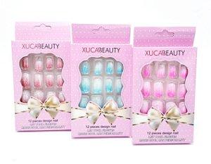 Embalagem Com 12 Unhas Postiças Com Glitter - Francesinha