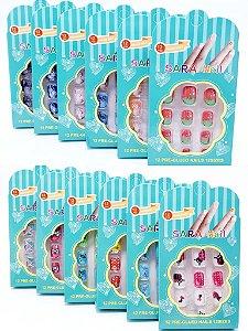 Embalagem Com 12 Unhas Postiças Infantil - Colorido