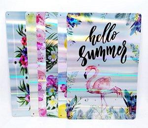 Placa Decorativa Cintilante - Temático Flamingo