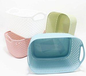 Cestinha Multiuso Vazada De Plástico Com Alça - Colorido