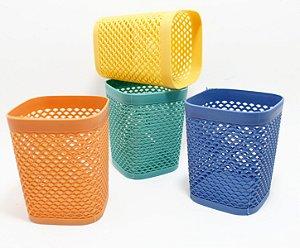 Cestinha Multiuso Vazada De Plástico Quadrada - Colorido