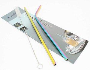 Kit Com 2 Canudos E Escova De Limpeza Em Aço Inox Holográfico - Interponte