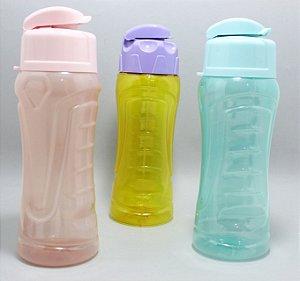 Garrafa De Plástico 650ml Colorida Com Tampa