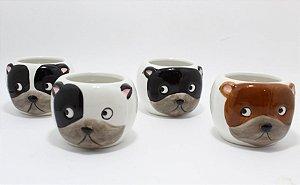 Cachepot De Cerâmica Branco - Dog