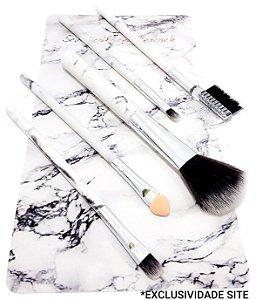 Kit Com 5 Pincéis Para Maquiagem Com Cabo De Mármore Branco