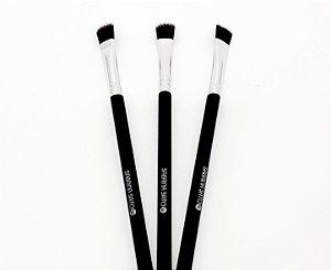 3 Pinceis De Maquiagem Para Sombra Topo Reto Cabo Preto - Sabrina Sato