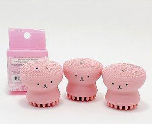3 Esponjas Para Limpeza Facial De Maquiagem Polvo Rosa