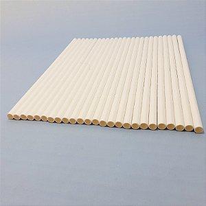 Pacote De Canudos De Papel Branco - Pacote Com 25 Unid - Shock