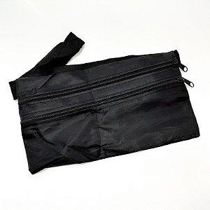 Pochete Slim Com Ziper E Alça Elástica - Preto