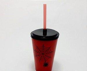 Copo De Plástico Com Tampa E Canudo Vermelho Tema Aranha -  500ml
