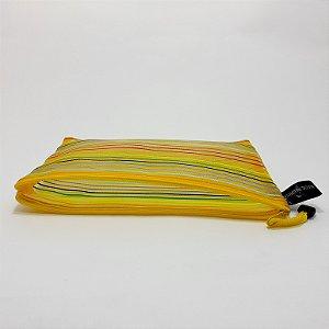Necessaire Furadinha Individual Transparente Com Zíper Amarelo
