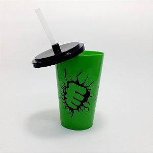 Copo De Plástico Com Tampa E Canudo Verde - Tema- Hulk -  500ml