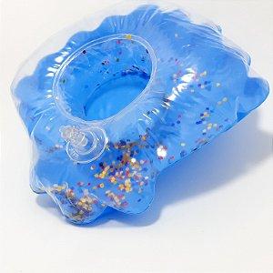Porta Copo Inflável Azul Escuro  Com Glitter