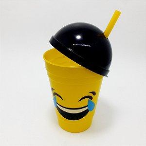 Copo De Plástico Com Tampa E Canudo Amarelo Tema Emoji Risada Com 400ml