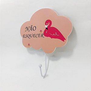 """Porta Chave Em Madeira Rosa Claro Com Gancho De Metal - Flamingo Com Frase """" Não Esquecer"""""""