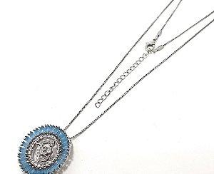 Colar De Prata Com Pingente De Pedra Azul Do Signo do Zodíaco - Aquário