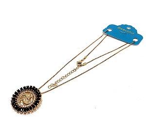 Colar Dourado Com Pingente De Pedra Preta Do Signo do Zodíaco - Peixes