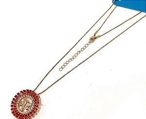Colar Dourado Com Pingente De Pedra Rosa Do Signo do Zodíaco -  Libra