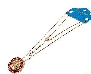 Colar Dourado Com Pingente De Pedra Rosa Do Signo do Zodíaco - Peixes