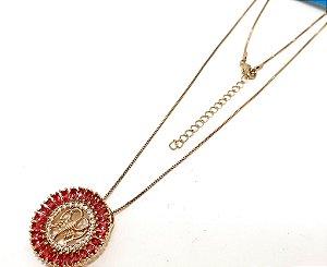 Colar Dourado Com Pingente De Pedra Rosa Do Signo do Zodíaco -  Câncer