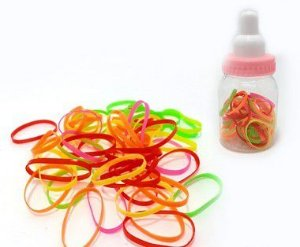 Elástico De Silicone Para Cabelo - Colorido - Em Potinho De Mamadeira
