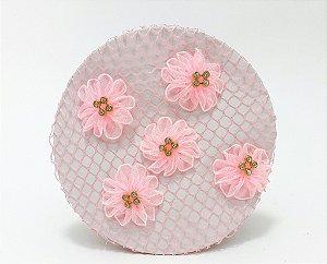 Rede Para Coque Bailarina Rosa Com Flores Em Tule E Strass Dourado