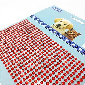 Adesivo Decorativo De Pedrinhas Vermelho Para Pets - Pratix