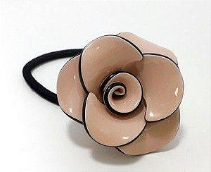 Elástico Rabicó Grande Com Detalhe Em Flor De Vinil - Salmão