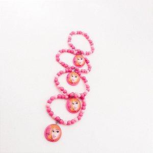 4 Pulseiras Infantil Em Miçangas Personagens - Princesa Disney