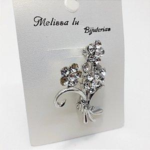 Broche Buquê Cravejado Prata Melissa