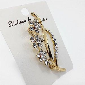 Broche Em Flores Com Strass  Feminino - Dourado Melissa