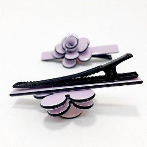 2 Presilhas Para Cabelo Em Vinil - Flower Lilás