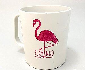 Caneca de Plástico Branca Temática Flamingo - 300 ml