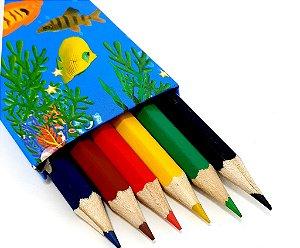Caixa Com 6 Lápis De Cor - CX02 Azul