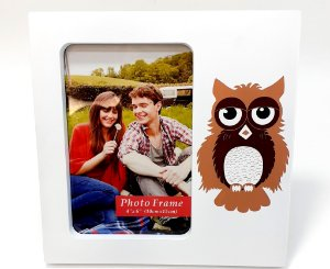 Porta Retrato De Plástico Para Mesa Temático De Coruja Silvestre - Branco