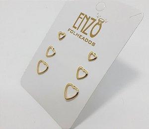 Cartela Com 3 Pares De Brincos Coração Dourado