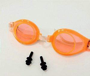 Óculos de Natação Infantil Summer Fun com Protetores Auriculares Laranja - Wellmix