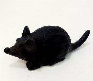 Rato Mordedor Para Pets De Borracha Preto Com Som
