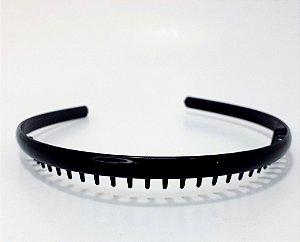 Tiara Fina Básica De Plástico  - Preto Liso