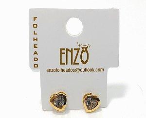 Brinco Dourado De Coração Com Pedrinha Pequeno - REF: PT0109