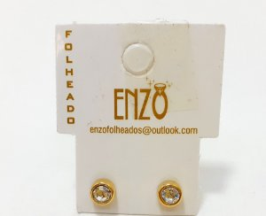Brinco Dourado Redondo Com Pedrinha Pequeno - REF: PT0138
