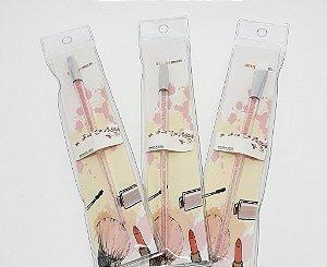 3 Pinceis Para Maquiagem Com Cabo Transparente Com Glitter Rosa - Brush