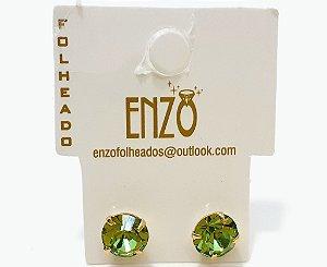 Brinco Dourado Pequeno Com Pedrinha Verde - REF: PT0201