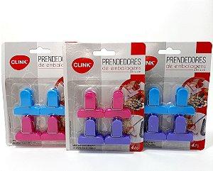 Prendedores Para Embalagens Com 4 Unidades Colorido - Clink