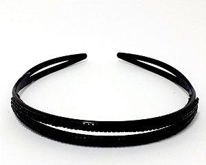 Tiara Fina Básica Trançada De Plástico - Preto Com Pedrinhas Preta