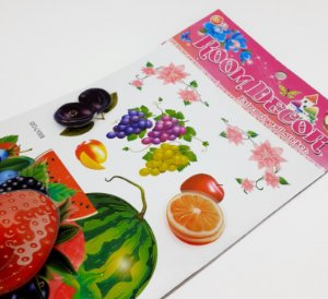 Adesivo Decorativo Colorido 6D - Temático Frutas