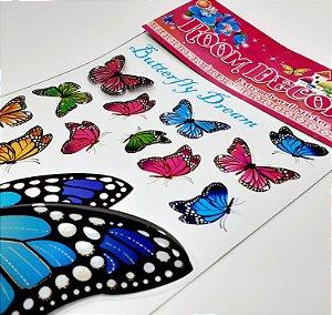 Adesivo Decorativo Colorido 6D - Temático Borboletas Coloridas