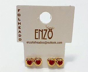 Brinco Dourado Coração Duplo Com Pedrinha Vermelha - REF: PT0270