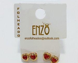Brinco Dourado Coração Duplo Com Pedrinha Rosa - REF: PT0269