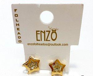 Brinco Dourado De Estrela Com Pedrinha Pequeno - REF: PT0271